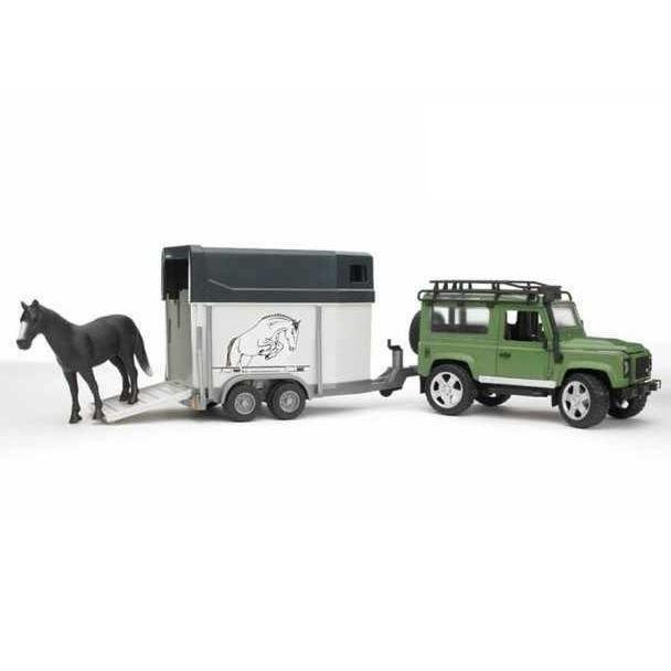 Bruder Toy car Land Rover with a trailer and a tailstock